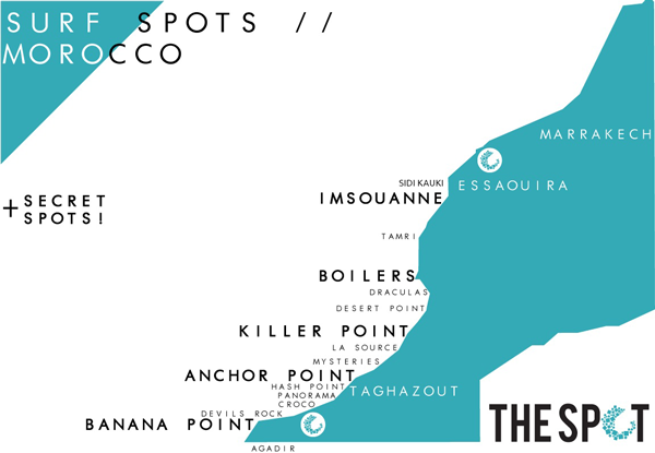 Surf Spots in Morocco Map | The Spot Morocco, surf Morocco, surf in Morocco, where to surf in Morocco, surfing Morocco