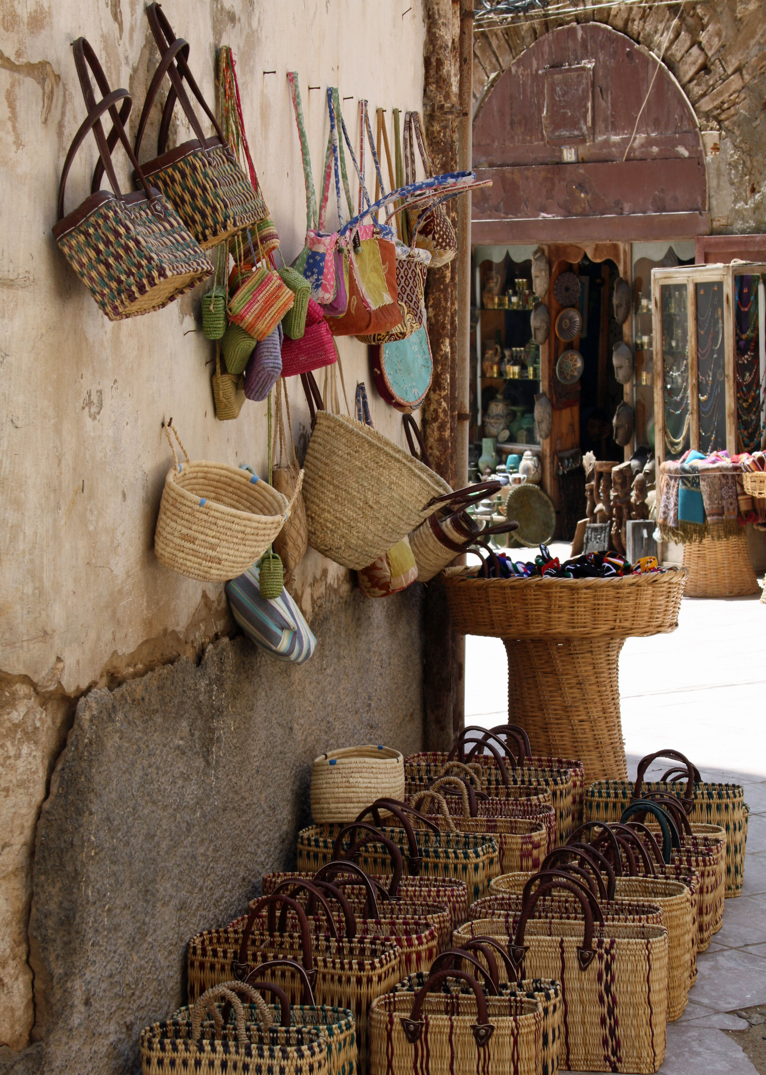 Woven bags in souk Essaouira| The Spot Morocco,Taghazout, surf Morocco, where to surf in Morocco, surf camp Morocco, surfing Morocco, Morocco surf
